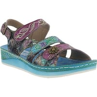 L'Artiste by Spring Step Women's Sumacah Strappy Slingback Aqua Multi Leather