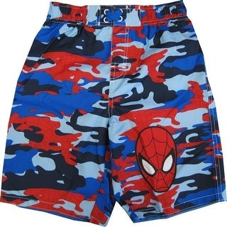 Marvel Little Boys Blue Red Spiderman Camo Print UPF 50+ Swim Shorts