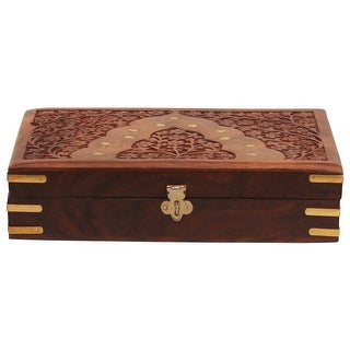 Benzara Handcrafted Floral Carving Jewelry Storage Box/Trinket Box, Brown