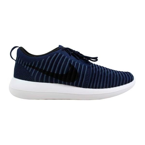 1409ab1cafe98 Shop Nike Men s Roshe Two Flyknit College Navy Black-White-Squadron ...