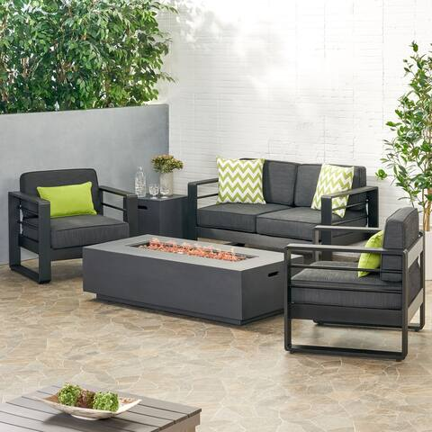 Maya Bay Outdoor Aluminum 4 Seater Chat Set with Fire Pit by Christopher Knight Home