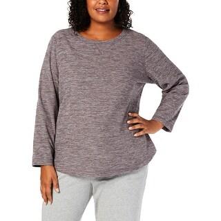Karen Scott Sports Womens Plus Sweatshirt Fleece Pullover