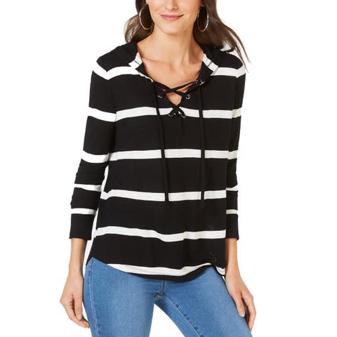 I.N.C. Women's Striped Grommet-Lace Hoodie, Black/ White (M) - Black/ White