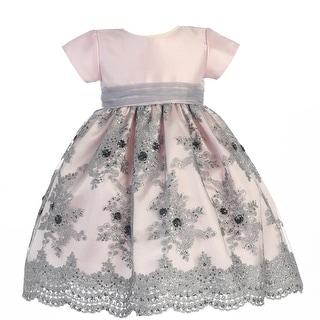 Little Girls Pink Silver Shantung Sequins Tulle Christmas Dress 2T-6