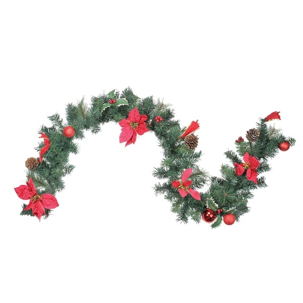"""6' x 9"""" Pre-Decorated Red Poinsettia and Pine Cone Artificial Christmas Garland - Unlit"""