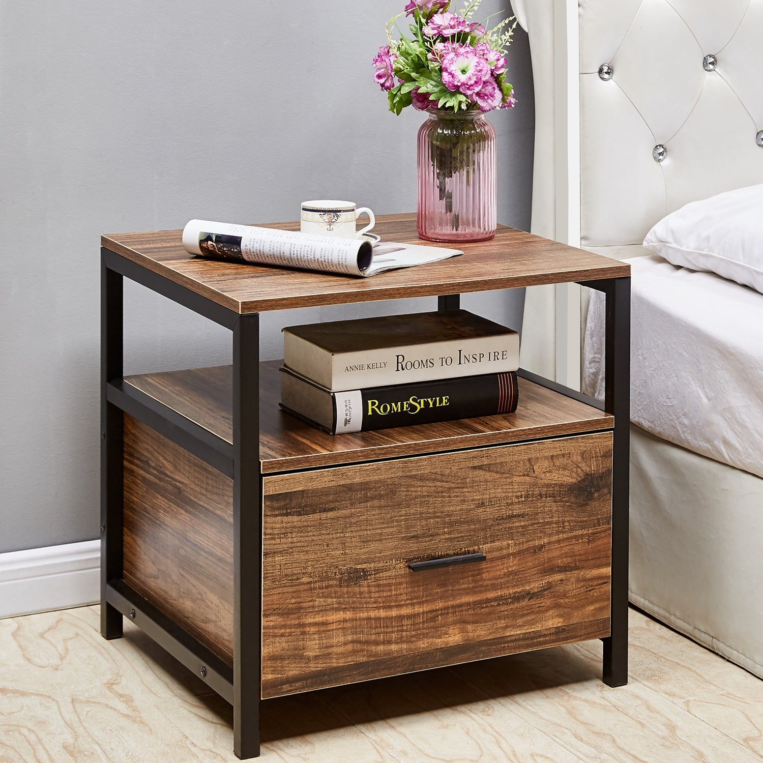 Vecelo Square Nightstand Bedside Table End Table Coffee Table Brown
