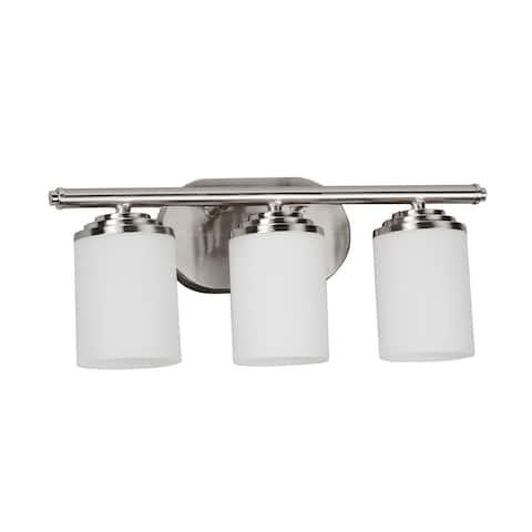 Vernon 3-light Satin Nickel Vanity, White Glass Diffuser
