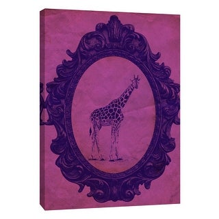"""PTM Images 9-105887  PTM Canvas Collection 10"""" x 8"""" - """"Framed Giraffe in Violet"""" Giclee Giraffes Art Print on Canvas"""