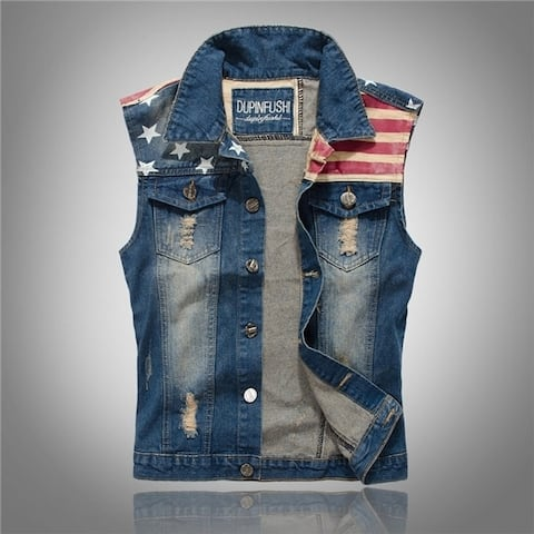 Men's Spring and Autumn Paragraph Slim Denim Vest Waistcoat - Blue