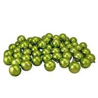 "60ct Kiwi Green Shatterproof Shiny Christmas Ball Ornaments 2.5"" (60mm)"