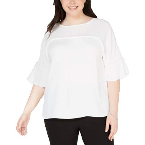 Bar III Women's White Size 2X Plus Ruffle Sleeve Seamed Chiffon Blouse