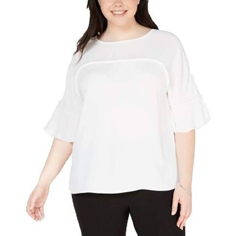 Bar III Womens Blouse Lilly White Size 2X Plus Ruffle-Sleeve Keyhole