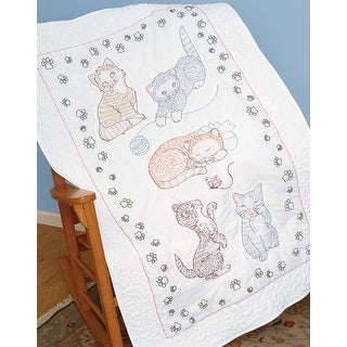 """Stamped White Lap Quilt Top 40""""X60""""-Kitty Cats"""