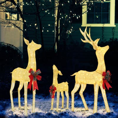 Veikous 3 Piece Deer Family Set Christmas Holiday Decor with Lights, Ground Stakes and Zip Ties, Gold