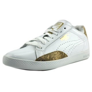 Puma Match Lo  Women  Round Toe Faux Leather White Sneakers