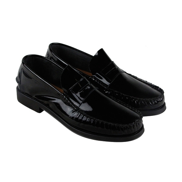 Steve Madden Hugo Mens Black Patent Leather Casual Dress Slip On Loafers Shoes