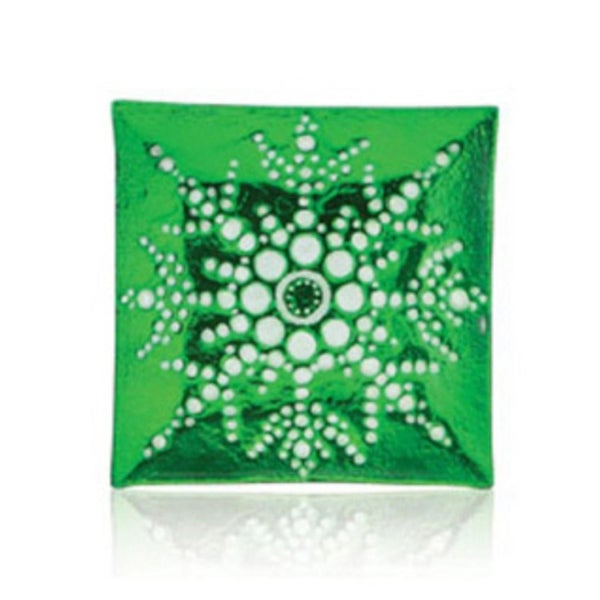 "13"" Square Green Decorative Glass Christmas Plate with White Iridescent Snowflake Design"