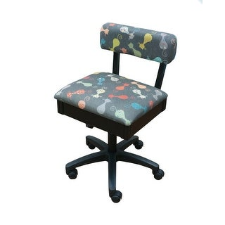 "Arrow Black Hydraulic Sewing Chair with Grey Cat Fabric - 16"" x 18"" x 30"""