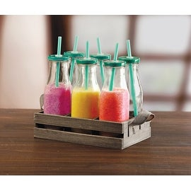 Palais Glassware High Quality Milk Bottles with Green Straws & Lids (Set of 6 with Caddy, 15 Ounce)