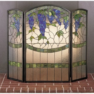 Meyda Tiffany 27235 Stained Glass / Tiffany Fireplace Screen from the Floral Ele