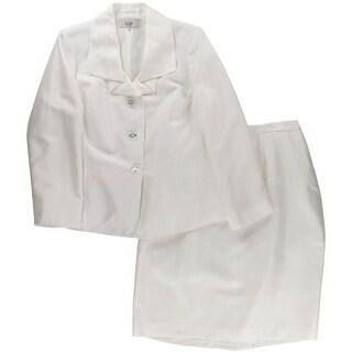 Le Suit Womens Plus 2PC Metallic Skirt Suit