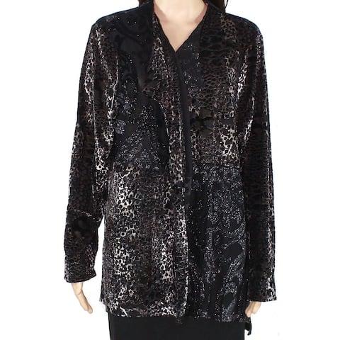Erin London Womens Sweater Black Size Small S Cardigan Draped Shimmer