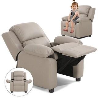 Costway Gray Deluxe Padded Kids Sofa Armchair Recliner Headrest Children w Storage Arms
