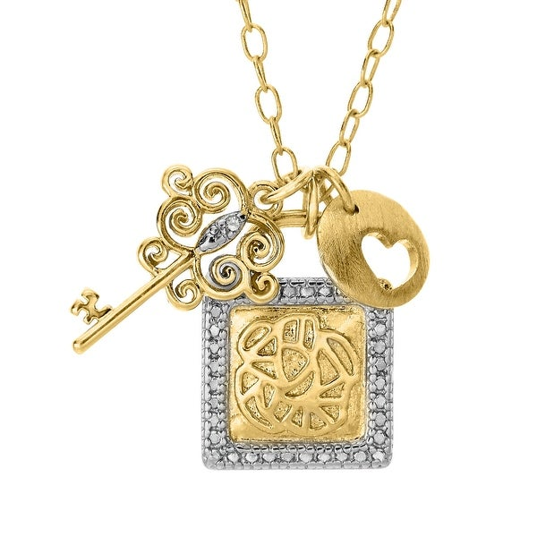 Lock Pendant with Diamond in 14K Gold & Sterling Silver Plate