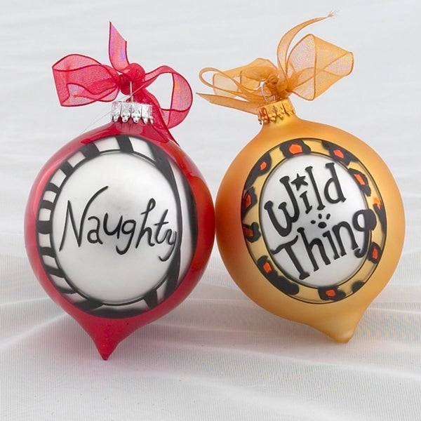 """Naughty & """"Wild Thing"""" Multicolored Glass Christmas Ornaments - YELLOW"""
