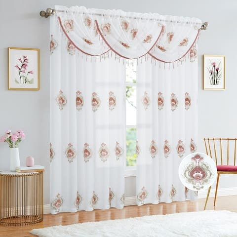 Lourdes Damask Embroidered Sheer Rod Pocket Window Panel, 54x84 Inches - N/A