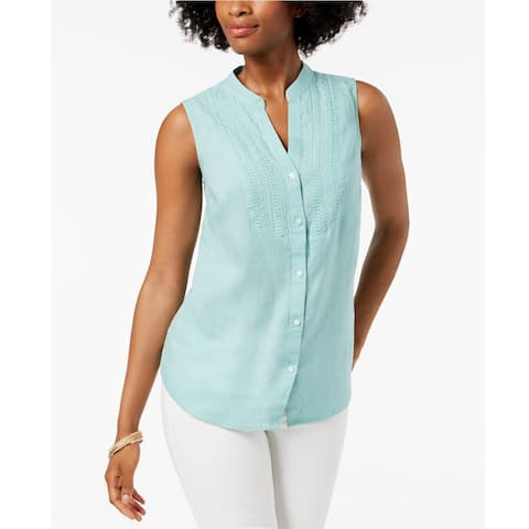 Charter Club Women's Linen Embroidered Shirt Tulum Blue Size Extra Large - X-Large