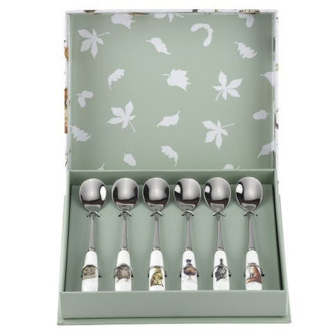 Royal Worcester Wrendale Designs Set of 6 Tea Spoons - 6 Inches