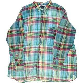 Polo Ralph Lauren Mens Big & Tall Plaid Classic Fit Button-Down Shirt - 4xlt