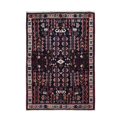 "Shahbanu Rugs Black New Persian Hamadan Pure Wool Hand Knotted Runner Oriental Rug (4'5"" x 6'9"") - 4'5"" x 6'9"""