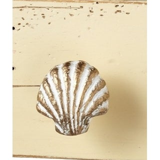 Scallop Seashell Drawer Knob Pull Whitewash and Golden Accents
