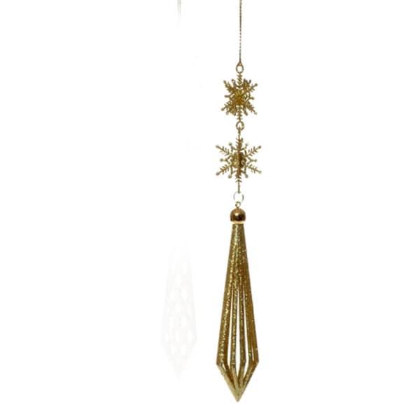 Gold Glittered Snowflake Dangle Christmas Ornament #2714127