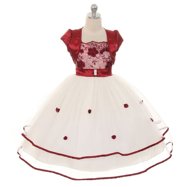 85e69b62c Shop Chic Baby Girls Burgundy Floral Embroidery Special Occasion ...