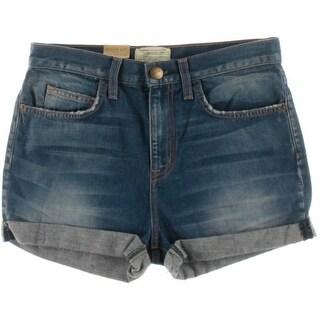Current/Elliott Womens Cuffed Distressed Denim Shorts - 25