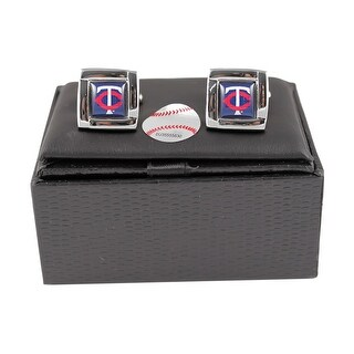 MLB Minnesota Twins Square Cufflinks with Square Shape Logo Design Gift Box Set