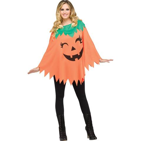 Adult Pumpkin Poncho Costume size 4-14 - Standard - One Size