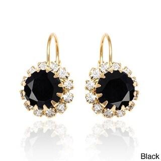 18k Goldplated Crystal Flower Leverback Earrings - Black