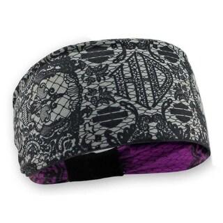Harley-Davidson Women's Lace Skull Reversible Headband, Black & Pink HP29180 - One size