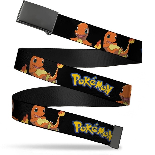 Blank Black Buckle Pokemon Charmander Poses Black Webbing Web Belt