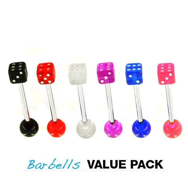 "6 Pcs Pack of Assorted Color Surgical Steel Barbells with UV Dice - 14 GA - 5/8"" Long (5mm Ball)"