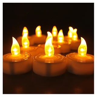 AGPtek 100 Battery Operated LED Amber Flameless Flickering Flashing Tea Light Candle - SIZE