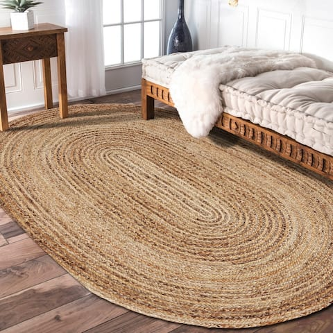 LR Home Natural Jute Hand Braided Rug