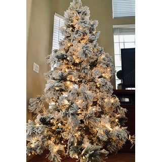 Shop 7.5' Flocked Pine Long Needle Prelit Christmas Tree ...