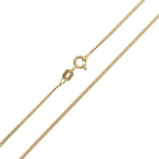 Bling Jewelry Unisex Gold Plated Silver Curb Cuban Chain Italy 40 Gauge