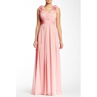 Adrianna Papell Silk Chiffon Sleeveless Silk Dress Pink 10