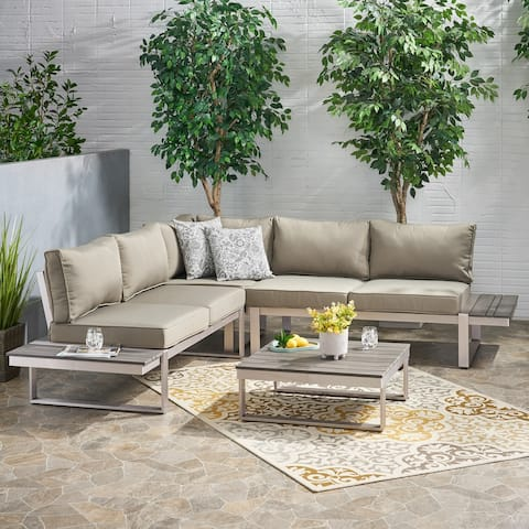 Sterling Aluminum 4-piece Sofa Set with Cushions by Christopher Knight Home